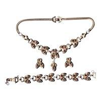 Rare BARCLAY Jewelry Parure Set Amethyst Rhinestone Necklace Bracelet Earrings