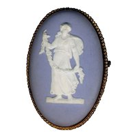 Old WEDGWOOD Pin Classic Figure on Blue Jasperware & Sterling Silver