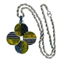 Modernist Signed TRIFARI Chromed Bakelite Pendant Necklace