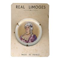 1950s LIMOGES France Porcelain Pin on Original Card