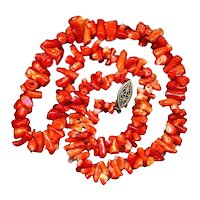 Chunks of Natural Salmon / Red Coral Necklace w/ Filigree G.F. Clasp
