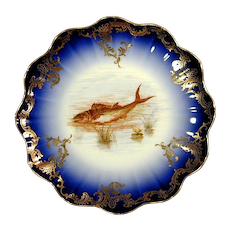 Gorgeous Signed LIMOGES Delinieres Fish Plate D&C France