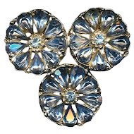 A Trio of 3 Blue Rhinestone Flowers Pin Brooch c1950s