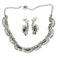 Sublime Layered Crystal Rhinestone Necklace w/ Earrings
