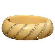 Vintage Bakelite Clamper Bracelet w/ Rows of Rhinestones