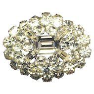Signed GALE Brilliantly Blingy Clear Rhinestones Pin Brooch