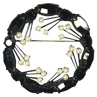 Vintage Jet Black Rhinestone Pin w/ Faux Pearl Sprouts