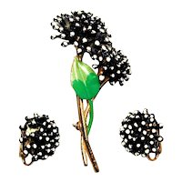 Enamel Vintage Fireworks Flower Pin w/ Matching Earrings