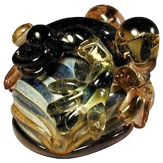 Vintage Studio Art Glass Bug-Eyed Frog Paperweight