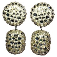 Glittery 1980s James ARPAD Disco Ball Rhinestone Earrings