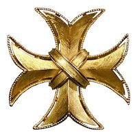 Crown Trifari Brushed Goldtone Maltese Cross Pin Brooch