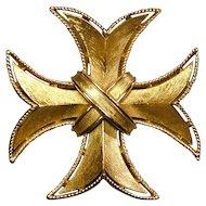 Crown Trifari Brushed Goldtone Maltese Cross Pin Brooch