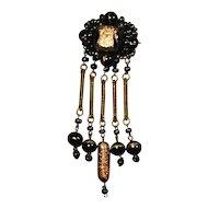 Italian Black Glass & Fool's Gold Dangles Pin Brooch
