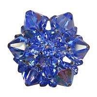 Super Blue Aurora Borealis Crystal Pin Brooch - Super Sparkle