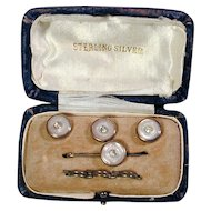 Gent's Edwardian Era Sterling Silver MOP Stud & Collar Pin Set in Box
