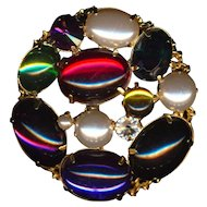 Big Colorful Lucite Gems & Faux Pearls Pin