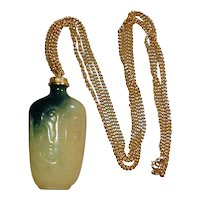 Kenneth J. Lane Faux Green Jade Snuff Bottle Necklace KJL