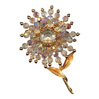 Vintage Austrian Crystal Blazing Flower Pin Brooch