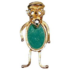 Rare Selro Gold-Tone Lucite Jelly Belly Man Pin Brooch