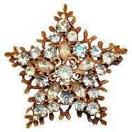 Vintage CORO Gilt & Rhinestone STAR Pin Brooch