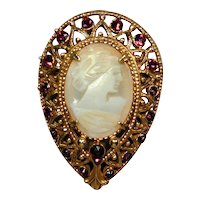 Vintage FLORENZA Teardrop Cameo Pin Brooch w/ Faux Garnets