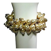 Huge Fabulous Faux Pearls Expansion Bracelet 1960s w/ Rhinestones