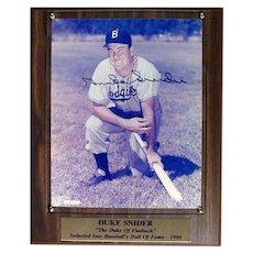 Original DUKE SNIDER Autographed Signed Photo Plaque w/ COA