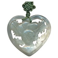 Vintage Chinese Carved Jade Heart w/ Lady Pendant Necklace