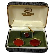 Vintage Cufflinks Tie Tac Sterling Silver & Carnelian Boxed Set