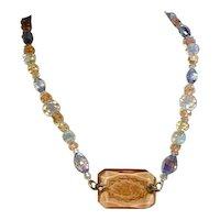 Vintage Deco Era Czech Etched Crystal & Beads Necklace