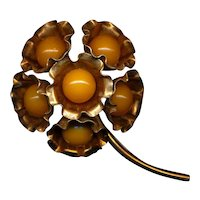 Vintage Bakelite Flower Pin w/ Big Yellow Balls