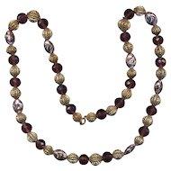 Vintage Italian Beads - Amethyst, Filigree & Art Glass Necklace