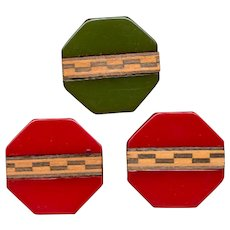 Set of 3 Unusual Bakelite Buttons w/ Inlaid Wood Marquetry