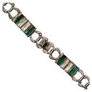 Art Deco Sterling Silver Rhinestone Link Bracelet c1930