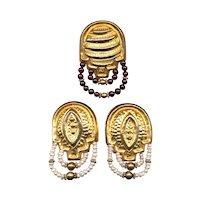 Vintage Estate Set Sterling Vermeil Earrings & Pin Brooch Pearls Garnets