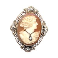 Vintage 14K Gold Carved Cameo Pin Diamond Habille