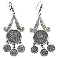 Long Luxe Mexican Aztec Mayan Earrings Sterling Silver