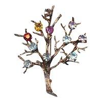 Vintage Sterling Silver Tree of Life Pin Brooch Rhinestones