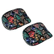Pair Colorful MUSI Rhinestone Covered Shoe Clips