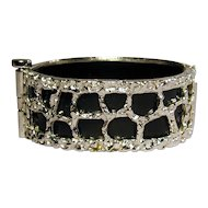 Crown Trifari Black & White Mod Hinge Bracelet