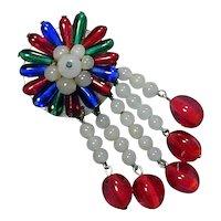 1930s  Czech Glass Bead Dangles Pin Brooch