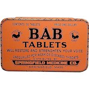 Old 1920s Tin Box BAB TABLETS Throat Voice Medicine Cure