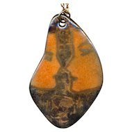 Mid-Century Enamel on Copper Pendant Couple Face-Off