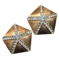 Vintage Donald Stannard Rhinestone Star Earrings