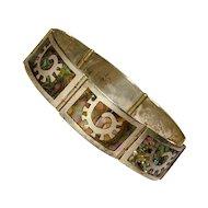 Vintage LOS BALLESTEROS Sterling Silver Inlaid Link Bracelet