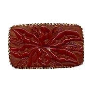 Huge Old Carved Bakelite Pin Brooch - Rare Color