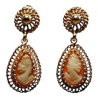 14K Gold Carved Cameo Shell Earrings Teardrop Dangle