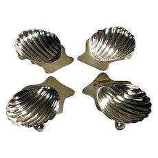Set of 4 Vintage Mexican Sterling Butter Pat Shells Silver