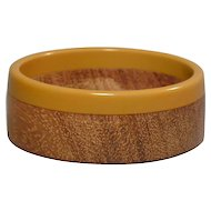 Vintage Mid-Century Wood & Bakelite Bangle Bracelet