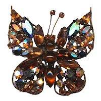 1950s REGENCY Rhinestone Butterfly Pin Brooch - Book Piece